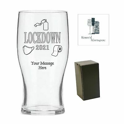 Lockdown 2021 Valentines Gift For Her Him - Engraved Beer Glass - Birthday Gift • 10.25£