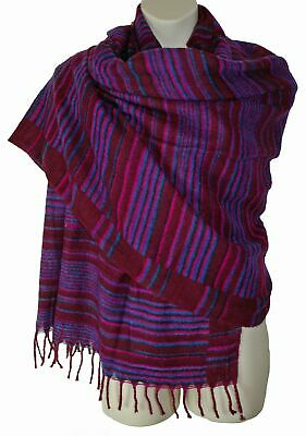 New Fairly Traded Striped Fleece Blanket Shawl Vegan Acrylic - Hippy Yak Wool • 17.99£