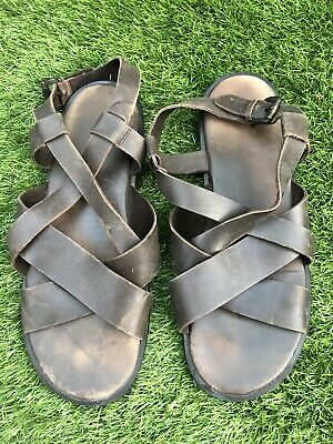 Men's Brown Leather Sandals UK Size 8 • 15£
