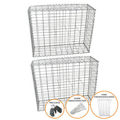 Gabion Baskets Stone Wire Cages Outdoor Mesh Planter / 100 X 95 X 30cm / 2 Pack • 89.99£