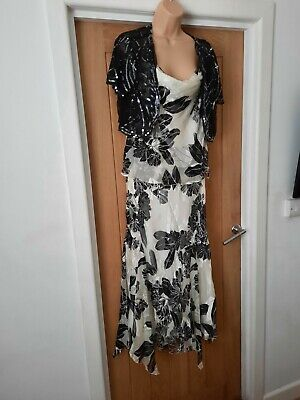 Country Casuals Dress And Jacket Size 16 Black And White Sequins • 9.99£