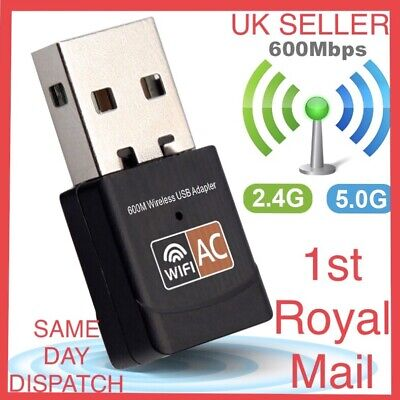 600 Mbps 5ghz USB Dual Band Wireless Adapter WiFi Dongle 802.11 AC Laptop PC UK • 0.99£