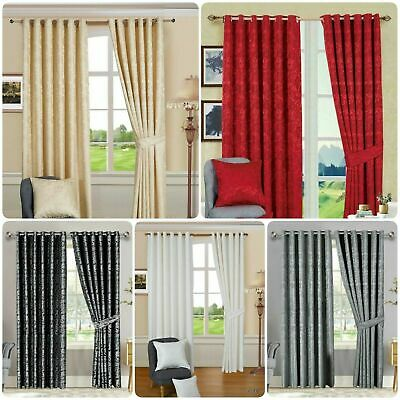 £34.99 • Buy Heavy Jacquard Curtains Fully Lined Eyelet Ring Top Ready Made Curtain Pair