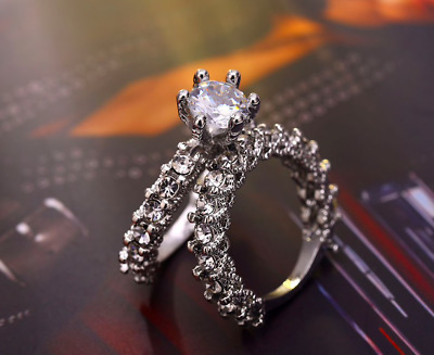 Women New Sterling Silver Wedding Ring Set Zircon Princess Crystal Jewelry UK • 4.99£