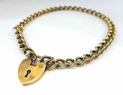 AU425 • Buy 9CT Yellow GOLD Curb Link Bracelet & Heart Locket