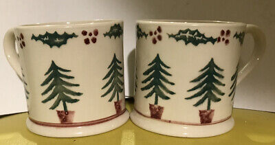 Two Rare Vintage 1980s Small Handmade Brixton Pottery Christmas Mugs With Trees • 16£