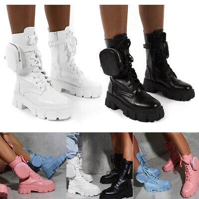 Womens Goth Punk Ankle Boots Ladies Lace Up Chunky Heel Platform Pocket Boots • 25.89£