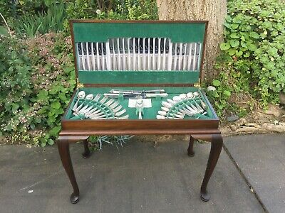 AU380 • Buy Art Deco Grosvenor Delphic Cutlery Set For 12 In Queen Anne Canteen Side Table!