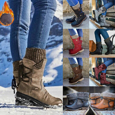 Womens Warm Fur Lined Mid Calf Boots Ladies Winter Lace Up Knit Block Heel Boots • 24.42£