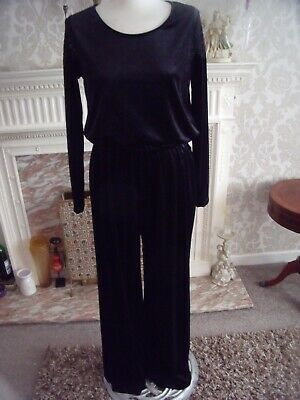Christopher Fink   Ladies Black Jump Suit Uk Size Medium In Velour Long Sleeves • 16£
