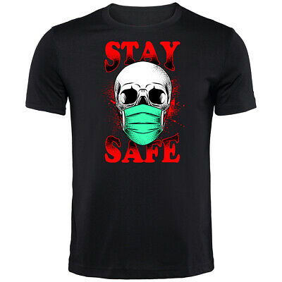 Stay Safe Skull Corona T-Shirt | Funny Printed Clothing Secret Santa • 9.99£