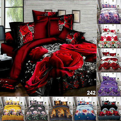 AU51.56 • Buy 3D Duvet Quilt Cover Bed Set W Fitted Sheet & Pillowcase Single Double King Size