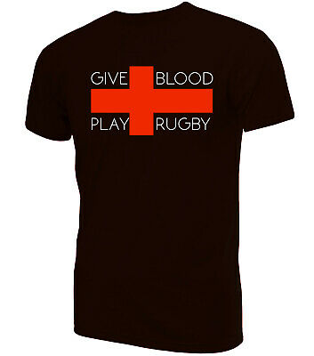 Give Blood Play Rugby T-Shirt | Novelty Funny Clothing Secret Santa • 9.99£