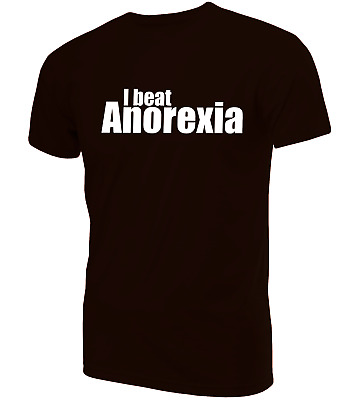 I Beat Anorexia T-Shirt | Novelty Funny Clothing Secret Santa • 9.99£