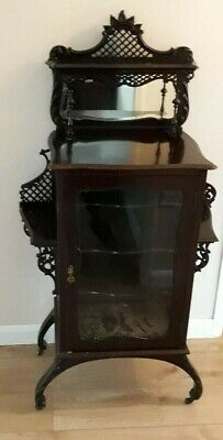 Antique Original Victorian Mahogany Sheet Music Display Cabinet With Fretwork  • 30£
