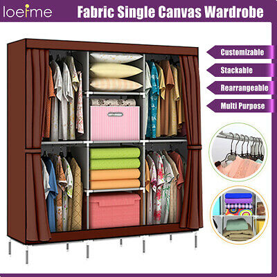 Fabric Canvas Wardrobe Portable Shelves Home With Hanging Rail Storage Cupboard • 20.59£