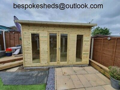 8x6 Pent Contemporary Summer House Garden Office Shed Tanalised Heavy Duty • 1,150£