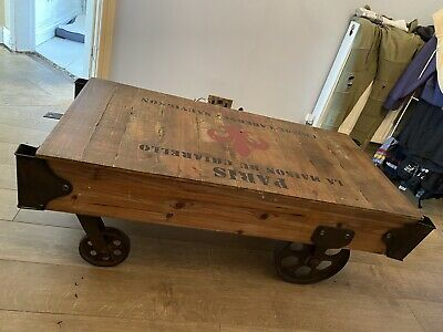 Wooden Industrial Railway Carriage Coffee Table - Rustic, Steam Punk • 180£