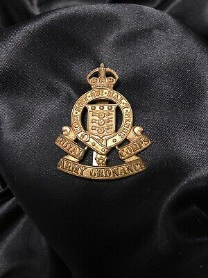 Royal Army Ordnance Corps Cap Badge With Slider 1920 Imperial Crown Brass • 4£