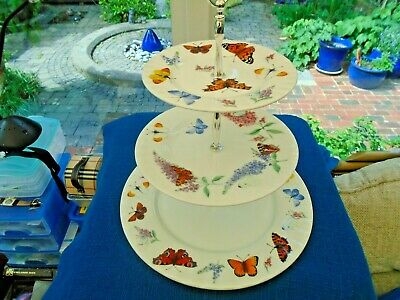 Roy Kirkham 3-tier Butterfly Garden Cake Stand, In Original Box, Never Used  • 40£