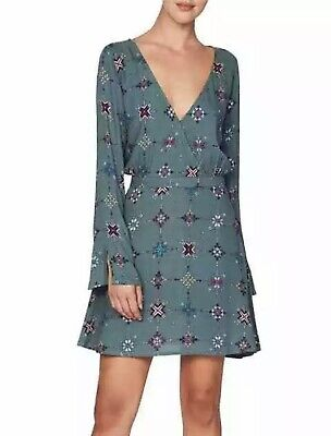 AU39.99 • Buy Tigerlily Tambour Olive Green Long Sleeve Bell Aztec Pattern Dress Size 14