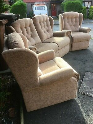 3 Piece Suite 2 Seater Sofa And 2 Chairs In Vgc • 0.99£