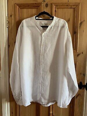 M&S Men's White 100% Pure Linen Long Sleeve Shirt XXL White Grandad Collar • 7£