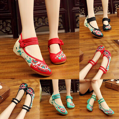 Women Chinese Embroidered Flower Flat Shoes Mary Jane Ladies Cotton Floral • 11.99£