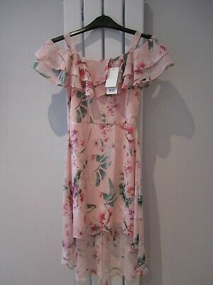 Girls Lipsy Dress - High/low - Cold Shoulder - Pink Floral - Age 10 Years • 8£