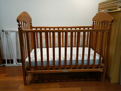 Beautiful Mothercare Venice Solid Pine Wood Drop Side Cot Bed & Mattress • 50£
