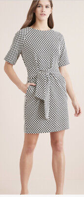 Bnwt Monochrome Jacquard Belted Dress From Next Size 22 • 0.99£