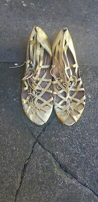 Gold Cut Out Sandals By OFFICE, Size 8  • 7£