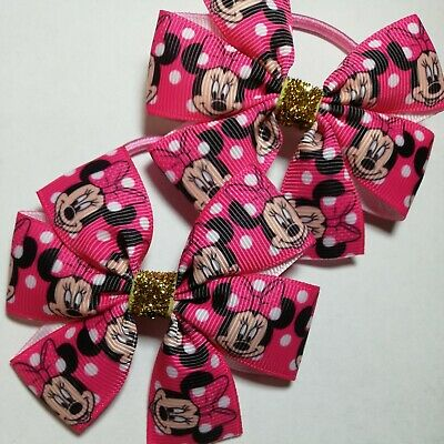 $ CDN3.64 • Buy Pair Of MINNIE MOUSE Hair Bow Bobbles Girls Baby Kids Pink Hair Accessories