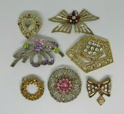 $ CDN5.25 • Buy Lot Of 7 Vintage Rhinestone Pins/Brooches Various Colors