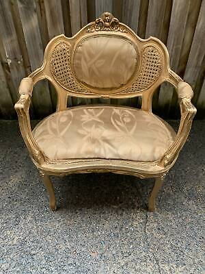 AU499 • Buy Antique Gold French Louis Xv Style Double Rattan & Timber Armchair
