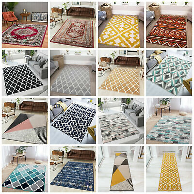 Modern Geometric Rugs Traditional Living Room Rug Small Large Rugs Hall Runners • 29.95£