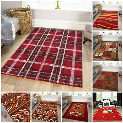 Traditional Red Living Room Rugs Soft Non Shed Shaggy Geometric Small Large Rug • 69.95£