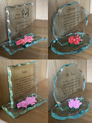 £9.95 • Buy Glass Plaque With Poem & Flowers Anniversary, Sister, Gran, Nan, Daughter Gift