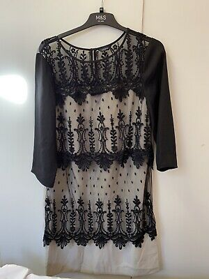 Marks And Spencer Autograph Black Mix Lace Dress 3/4 Sleeve Size 14 • 12£