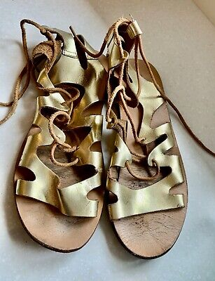 Topshop Gladiator Sandals Gold Leather Summer Shoes Size 4 Womens • 4.99£