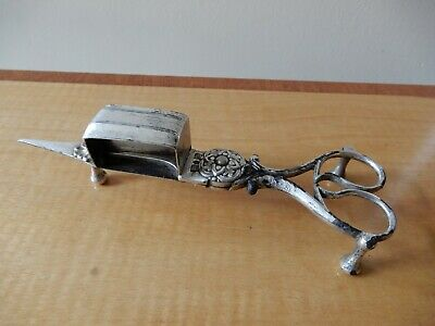 Victorian, Silver Plated, Ornate, Desktop, Candle Wick Snuffer/ Trimmer Scissors • 9.50£