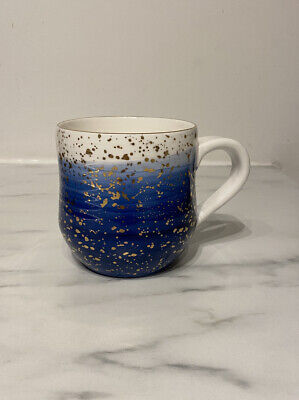 Anthropologie Suite One Studio Splatter Blue And Gold Mug • 3.20£