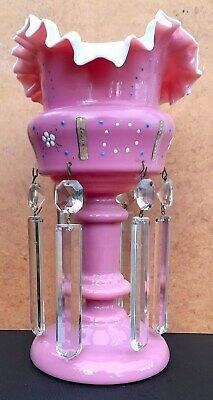 Victorian Enamel Decor Opaline Pink Glass Lustre With Original Crystal Droppers • 28£