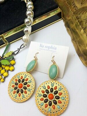 $ CDN12.96 • Buy Lia Sophia Blue Multi Color Large Round Tag Bohemian BOHO Tribal Earrings