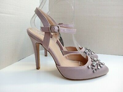 £13.99 • Buy NEW LOOK Shoes Size 4 Wide Fit Nude Beige Diamante Ankle Strap Satin Occasion