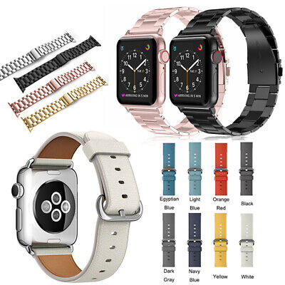 AU8.99 • Buy For Apple Watch Band Series 6 5 4 3 Leather Stainless Steel IWatch 38-44mm Strap