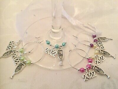 2021 NEW YEARS EVE Wine Glass Charms X 6 Champagne Table Decorations Party • 3.40£