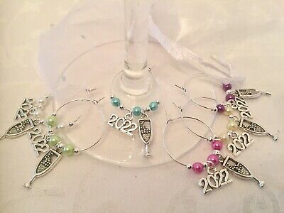 2021 NEW YEARS EVE Table Decoration Wine Glass Charms X 6 Champagne Party • 3.40£