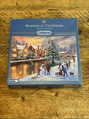 Gibsons 500 Piece Jigsaw - 'Bourton At Christmas' BY TERRY HARRISON Complete • 9£