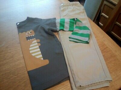 £4.50 • Buy Baby Boden 2-3yrs Sand Coloured Chinos & Layered Monster T-shirt.